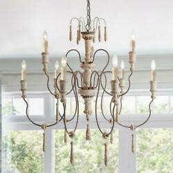 Uolfin French Country Candle Chandelier 39 9 Light Antique Weathered White Wood