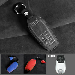 For Ferrari 488 2017 2018 Suede Leather Remote Key Cover Case Fob Keychain Shell