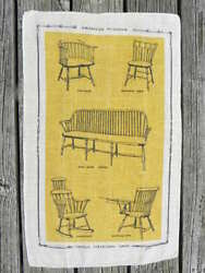 Vint Yellow Gold Linen Hand Towel W/antique American Windsor Chairs Kay Dee