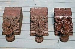 Set Of 3 Antique Hand Carved Corbels Architectural Brackets Mantle India Europe