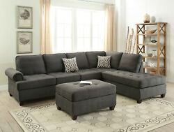 Living Room Furniture 2pc Sectional Sofa Reversible Chaise Pillows Tufted Couch