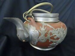 Beautiful A Large Antique Chinese Teapot With Pewter Hand Carved Decorative Used