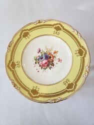 12 Yellow Gold Gilt Floral Royal Crown Derby Plates Signed