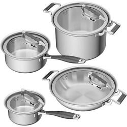 8 Piece Cookware Set Stainless Steel With Glass Lids Durable Kitchen Cooking New