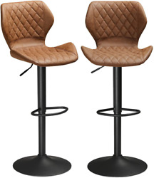 Set Of 2 Pu Leather Bar Stools Height Adjustable Bar Chairs Kitchen Pub Brown Us
