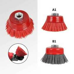 75mm 3 Cup Nylon Abrasive Wire Brush Polishing Wheel For Derusting 80/120 Grit