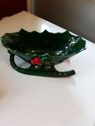 Vintage Lefton Christmas Sleigh Candy Dish Holly Berry Green Sticker 1346 Japan