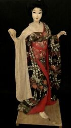"""Vintage from 1960 1970#x27;s Large NISHI Geisha Doll 23"""" Wooden Stand Japan"""