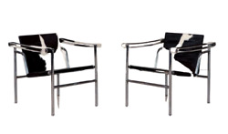 Corbusier Styled Mid Century Modern Cowhide + Chrome Armchairs A Pair