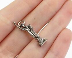 925 Sterling Silver - Vintage Petite Sculpted Statue Of Liberty Pendant - P12498