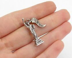 925 Sterling Silver - Vintage Petite Sculpted Statue Of Liberty Pendant - P12300