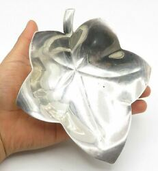 And Co. 925 Silver - Vintage Smooth Shiny Autumn Leaf Dish - T1820