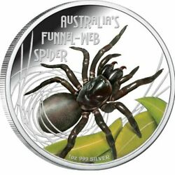 Tuvalu 2012 Deadly And Dangerous Funnel Spider 1oz Silver Coin 1 Aus