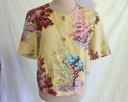 Dead Stock Trafficube Vintage 80s Trophy Jacket Tree Print Leaves Floral Italy