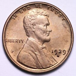 1929-s Lincoln Wheat Cent Penny Choice Bu Red Free Shipping E634 Rm