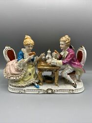 Vtg Capodimonte Porcelain Figurine Lady And Man Playing Cards Victorian Style