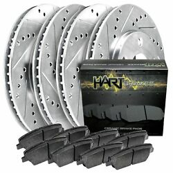 Fits Ford, Lincoln Edge, Mkx Front Rear Drill Slot Brake Rotors+semi-met Pads