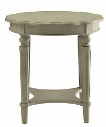 Homeroots End Table In Antique Slate - Mdf, Solid Wood Leg Antique Slate