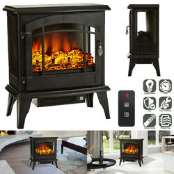 1400w 23 Electric Fireplace Space Heater Log Flame Stove Free Standing Portable