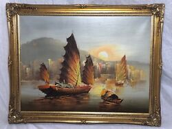 Impressionist Oil Painting Junk Boats Hong Kong Harbour Sunset After Jove Wang