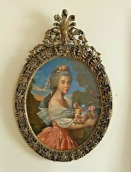 Antique Victorian Ornate Gilt Framed Portrait Oil Painting Canvas Of A Maiden