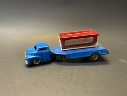 Vintage 1950s Sand Gravel Tractor Trailer And Dump Truck Blue And Red Tin Toy Car