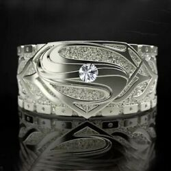 Hollywood Movie Superman Logo Engagement Wedding Ring Solid 925 Sterling Silver
