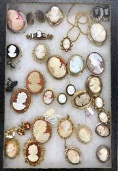 31 Pc Vtg Jewelry Lot All Kinds Of Cameos-victorian To Mcm Shell 32 Ea