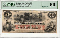 1859 20 Union County Bank Plainfield New Jersey Obsolete Note Pmg About Unc 50