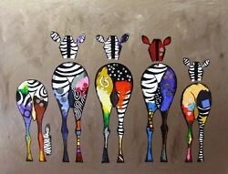 Funny Zebra Bum Painting Animals Wall Art Photo Canvas Picture Prints