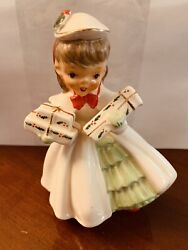 Napco Ax1690c Christmas Packages Gifts Shopper Girl 1956