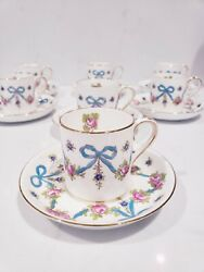 Set 8 Vintage Crown Staffordshire Demi Cups + Saucers Pink Roses Blue Bows Swags