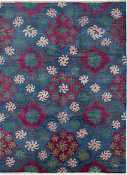 Hand-knotted Carpet 10and0393 X 13and03910 Transitional Blue Wool Rug