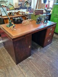 Waring And Gillowstamped Mahogany Campaign Style Pedestal Desk - Immaculate