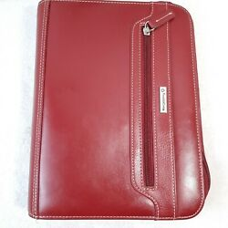 Franklin Covey Red Leather Classic Zipper Day Planner Organizer Binder Cherry