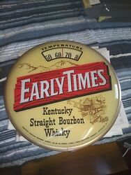 Vtg Advertising Early Times Whisky Sign Old Scale Glass Thermometer Tavern Bar