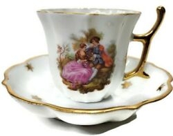 Cobalt Limoges Castel France 22k Gold Trim W/courting Couple On Cup And Saucer