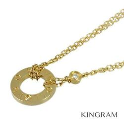 Love Circle 18k Yellow Gold 750 Diamond 2p Necklace From Japan