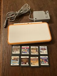 New Nintendo 2ds Xl - Orange And White Edition - Tested Clean W/ 8 Gamescharger