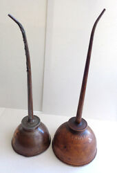 """2 Vintage Oil Cans 1 Eagle And 1 Unknown Brand 10 ½"""" And 11 1/2"""
