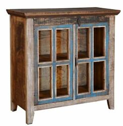 Vintage Curio Cabinet Distressed Multi-color Solid Wood Iron Small Storage 36