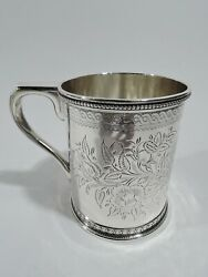 Mug - 6167 - Antique Christening Baby Cup - American Sterling Silver