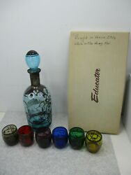 1961 Vintage Liquor Decanter And 6 Glasses Set Made In Italy Gondola Scenes