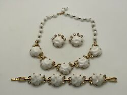 Vintage Parure In Gold Tone Milk Glass And Rhinestones W/ Clip Earrings
