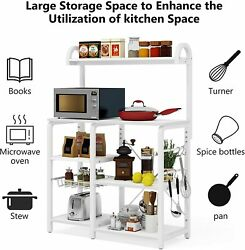 Industrial Microwave Oven Stand Storage Rack Shelves For Utensils W/ Metal Frame
