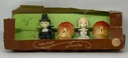 Vintage Gurley Thanksgiving Candles - Pilgrims And Turkeys In Original Box