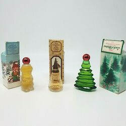 Vintage Avon Collectible Christmas Cologne Decanters Lot Of 3 New W/ Orig Boxes