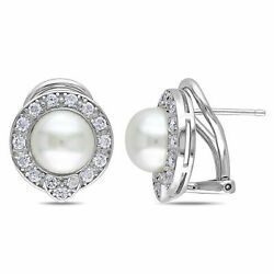 Miadora Cultured Freshwater Pearl Cubic Zirconia Silver Clip Back Earrings