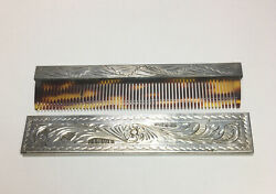 Antique Italy 800 Sterling Silver Acid Etched Pocket Comb And Case Size 4.00andrdquo M77
