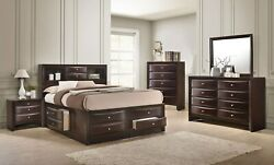 Contemporary King Size 4pc Bedroom Set Bed Dresser Mirror Nightstand Storage
